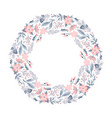 christmas wreath with pink flowers and cone vector image vector image
