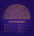 cryptocurrency concept in half circle vector image vector image