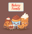 cute bakery kawaii family vector image vector image
