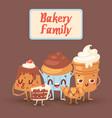 cute bakery kawaii family with vector image
