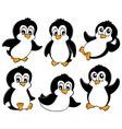 cute penguins collection 1 vector image