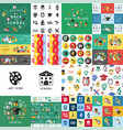 digital green red yellow school icons vector image