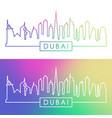 dubai skyline colorful linear style vector image