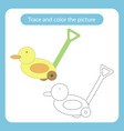 duck toy with simple shapes trace and color the vector image vector image