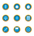engine room icons set flat style vector image vector image