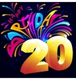Fireworks Happy Birthday with a gold number 20 vector image vector image