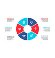 flat circle element for infographic with 6 parts vector image vector image