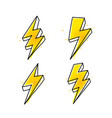 four lightning bolt hand drawn icons vector image