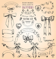 Hearts Banners and Bows Set vector image vector image
