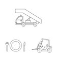 isolated object of airport and airplane icon vector image