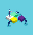 isometric team connecting puzzle elements concept vector image vector image