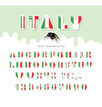 italy font italian flag colors paper cutout vector image