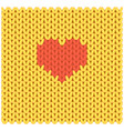 knitted fabric with heart in the middle vector image