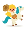 Little Happy Girl Ride Horse Pony Cowboy Cowgirl vector image vector image