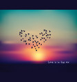 love heart bird sign card in sky sunset valentines vector image vector image