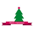 merry christams sign on red ribbon and green vector image vector image