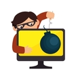 monitor desktop computer with security system vector image vector image