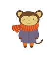 Monley In Blue Warm Coat Childish vector image vector image