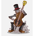 Monster in Halloween Night Skeleton play Cello vector image vector image