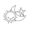 moon and sun cartoons in black and white vector image vector image