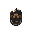 mountain cabin emblem logo design template vector image