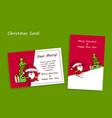 outline cartoon santa claus post card mockup vector image