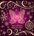 purple gradient christmas frame vector image