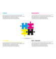 puzzle infographic business concept with cmyk vector image vector image
