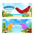 realistic hammock tropical banner set vector image