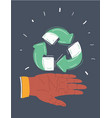 recycling woman showing recycle sign vector image vector image