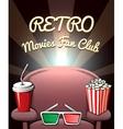 Retro Movies Fan Club poster vector image vector image