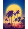 Retro style full moon rise with palm silhouettes vector image vector image