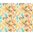 Seamless Pattern with Feathers Eggs vector image vector image
