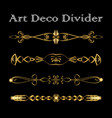 set of vintage typographic divider in gold art vector image