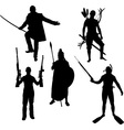 silhouettes warriors vector image