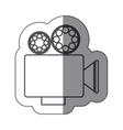 sticker silhouette with retro movie projector vector image