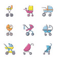 stroller icons set cartoon style vector image vector image