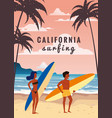 surfers man and woman couple on beach coast vector image vector image