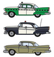 three old american cars vector image