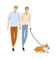 two young boy friends walking together on the vector image vector image