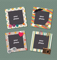 vintage scrapbook picture frames retro kids vector image