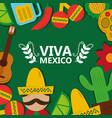 viva mexico tradition culture festival poster vector image vector image