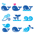 Whale sea or ocean waves blue icons set vector image vector image
