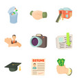 work after university icons set cartoon style vector image vector image