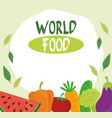 world food day healthy lifestyle fruits vector image vector image
