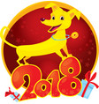 yellow dog symbol of the new year 2018 vector image vector image