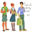 Young people with grocery bags vector image vector image