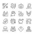 editable stroke halloween thin line icon set vector image