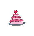 wedding cake cartoon hand drawn icon vector image