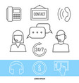 contact centre or online support concept with line vector image